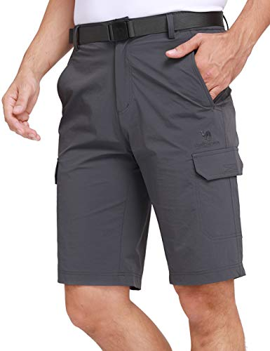 (CAMEL CROWN Men's Quick Dry Hiking Shorts Lightweight Casual Classic Cargo Shorts with Belt Multi Pockets for Outdoor Fishing Grey XXXL)