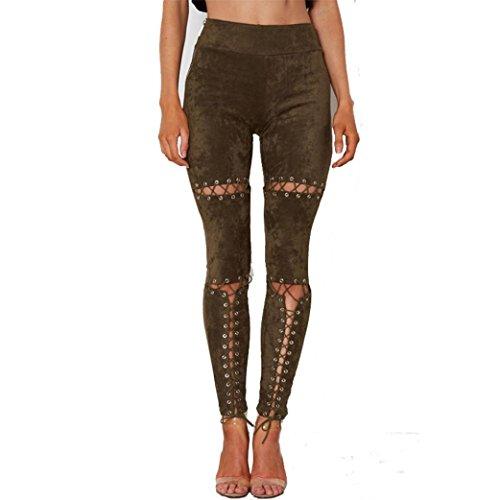 LANDFOX Pantalones Mujer Suede Bandage Pantalones Flacos Alta Cintura Hollow Out Pieza Pantalones Army Green