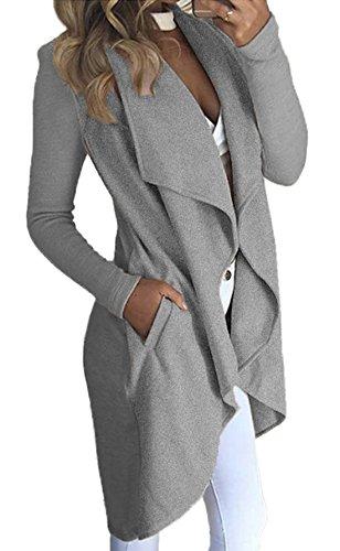 Abrigo Cárdigans Punto Mujer Larga Otoño de Chaqueta de de Manga Abrigos Jersey Gris de Irregular Lnvierno Sportswear Chaqueta YZxqw47