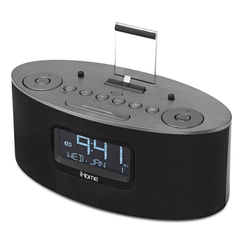 ihome idl46 lightning dock clock radio and usb charge play for ipad ipod and iphone 5 5s and 6. Black Bedroom Furniture Sets. Home Design Ideas