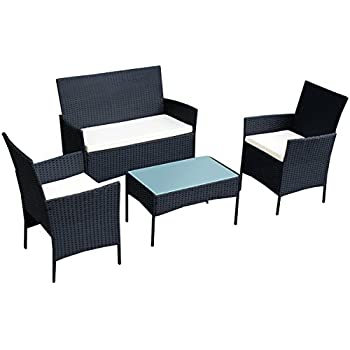 Amazon Tangkula 4 PCS Outdoor Patio Garden Black Rattan