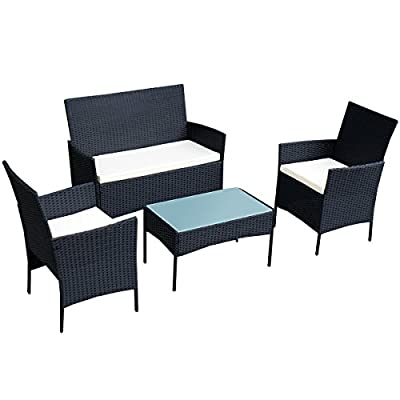"""Tangkula 4 pcs Wicker Furniture Set Rattan Sofas Garden Lawn Patio Furniture - Material of wicker furniture: PE Rattan, Steel, Waterproof Polyester and Sponge Size Of Loveseat: 41.0""""X22.8""""X33.1""""(WxDeepxH) Size Of Single Sofa: 22.6""""X22.8""""X33.1""""(WxDeepXH) - patio-furniture, patio, conversation-sets - 41lzcmucszL. SS400  -"""