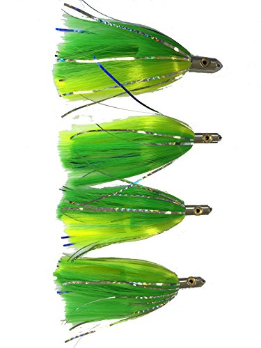 Eat My Tackle Green and Yellow Ilander Style Saltwater Fishing Lures 4 Pack