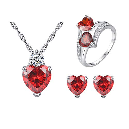 - ChenGG Clearance!Women Pomegranate Red Zircon Ring Necklace Earrings Set Peach Heart Jewelry Under 5 Dollars