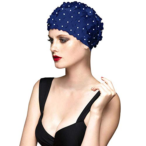 - BALNEAIRE Flowers Swim Cap Women Pearl Floral Swim Cap Hat Long Hair Swimming Caps Navy Color