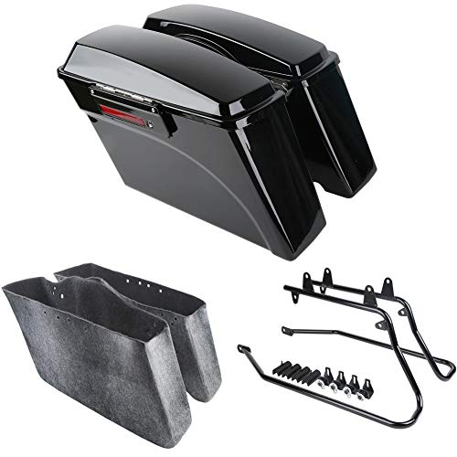 (XMT-MOTO Hard Saddlebags kit w/Black Saddlebag Support Bracket fits for Harley davidson Softail Models 1986-2013)