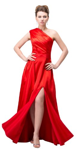 herafa p32651-2 Prom Dresses Elegant One Shoulder Sleeveless Ruched Long 0 A-Line Red