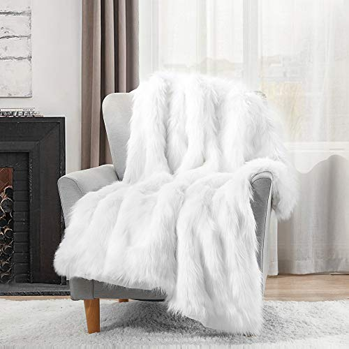 HORIMOTE HOME Luxury Plush Faux Fur Throw Blanket, Long Pile White Throw Blanket, Super Warm, Fuzzy, Elegant, Fluffy Decoration Blanket Scarf for Sofa, Armchair, Couch and Bed, 50''x60'' (White Furry Blanket)