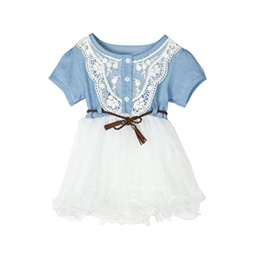 IGEMY Kleinkind Baby Mädchen Denim Kleid Spitze Prinzessin Tulle Clothes Hellblau