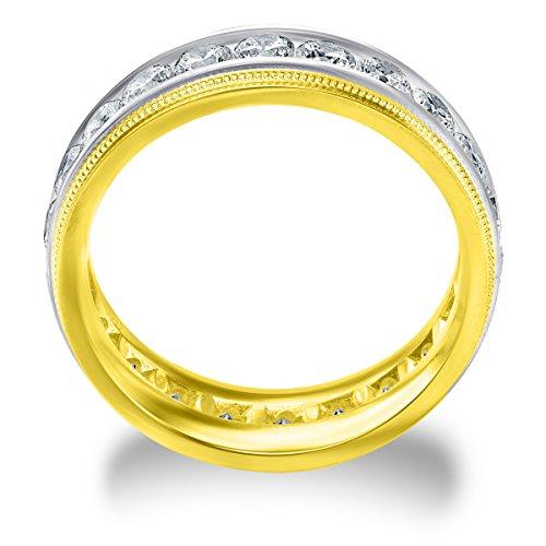 14k Two Tone Diamond Milgrain Edge Eternity Wedding Band