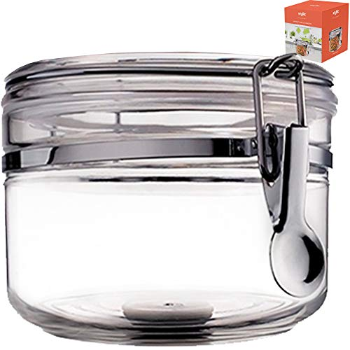 Food Canister Storage Container Organizer - 1 air tight size 28 oz acrylic plastic jar with lid to fulfill your pantry kitchen cabinet organization! Canisters & containers for candy sugar flour cereal ()