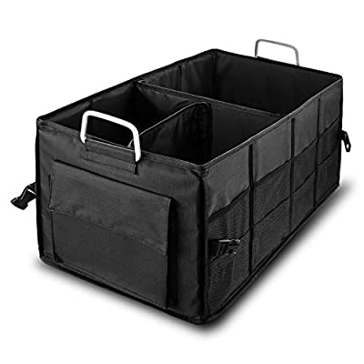 Czoom Car Trunk Organizer for SUV, Truck, Auto, Vehicle, Minivan, Home - Heavy Duty Portable Collapsible Cargo Storage - Durable Construction - Multi Compartments Cargo Carrier Caddy (Black) by Czoom club