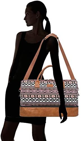 Oflamn Weekender Bag for Women Carry-On Luggage Bohemianstyle Duffle Bag Overnight Bags 3-4 Day' Travel Bags with Separated Shoes Compartment