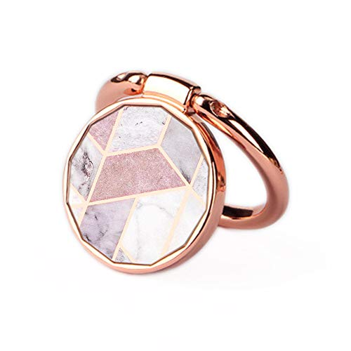 and Rose Gold Oddss Pink Geometric Marble Universal Thin Finger Ring Grip 360° 180°Flip Ring Stand Grip Mount Compatible for Smartphones ()