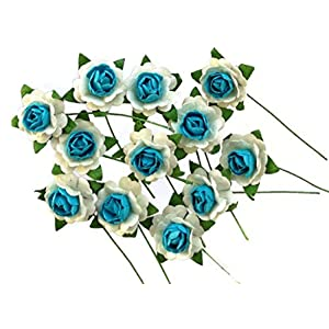 pichana Mulberry Paper Handmade Artificial Blue White Roses Head Wedding Party Home,Hair,Hat,Dress Decoration DIY Gift Box 12 Pcs Each Flower Size 1.5 cm.(Approx) 59