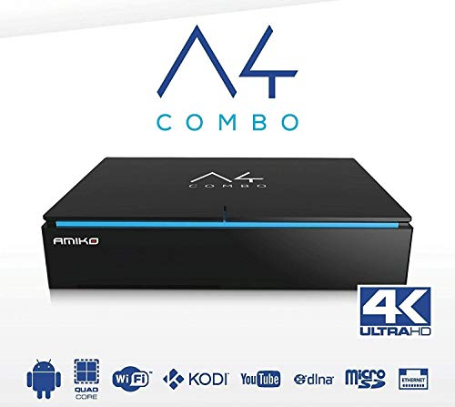 Stock Amiko A4 Combo Media Streamer IPTV Linux & Android Kodi 4K T2 SAT Satellite Receiver Air delivery + Track Number