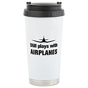 CafePress - Still Plays With Airplanes-Co Stainless Steel Trav - Stainless Steel Travel Mug, Insulated 16 oz. Coffee Tumbler
