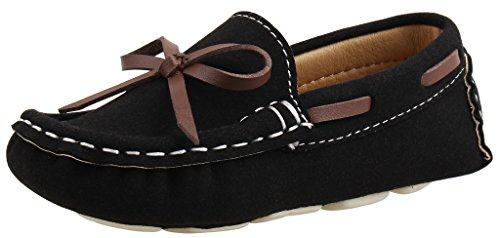 SKOEX Boy's Girl's Suede Slip-on Loafers Oxford Shoes US Size 8 Black