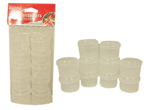 10PC Storage Containers with Screw Top Lids Size: 2''D x 1.5''H Each , Case of 96