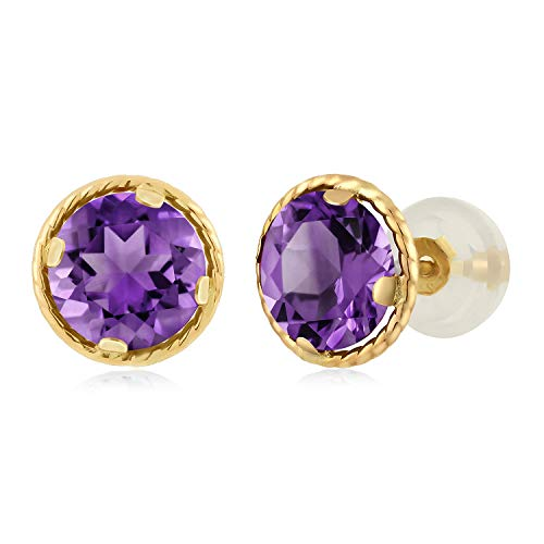 - Gem Stone King 1.40 Ct Round 6mm Purple Amethyst 14K Yellow Gold Gemstone Birthstone Stud Earrings