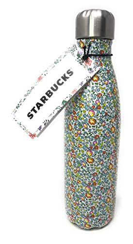Starbucks Christmas 2017 Swell Insulated Water Bottle w/ Liberty of London Fabrics Original Artworks with floral and paisley prints (Yellow & Green Flowers)