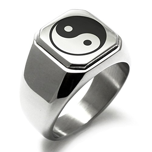 (Stainless Steel Yin Yang Symbol Square Flat Top Biker Style Polished Ring, Size 9)