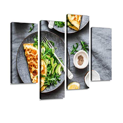 Omelette with Cream Cheese, arugula and Avocado Salad on Background Canvas Wall Art Hanging Paintings Modern Artwork Abstract Picture Prints Home Decoration Gift Unique Designed Framed 4 Panel
