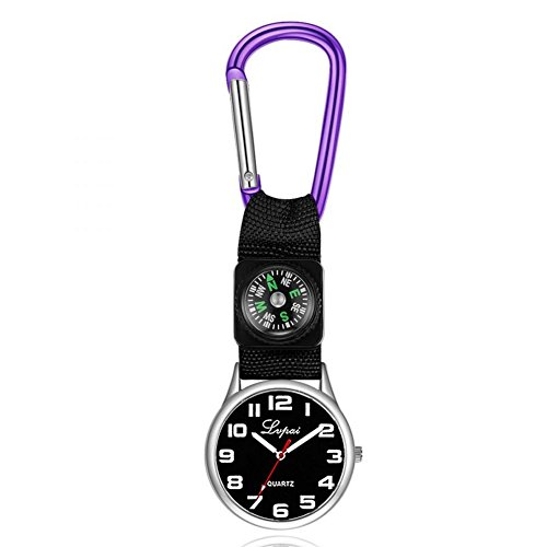 Dilwe Sports Watch, Casual Multi Function Compass Watch with a Carabiner Hanging on the Pocket Running Watch for Camping(Purple)