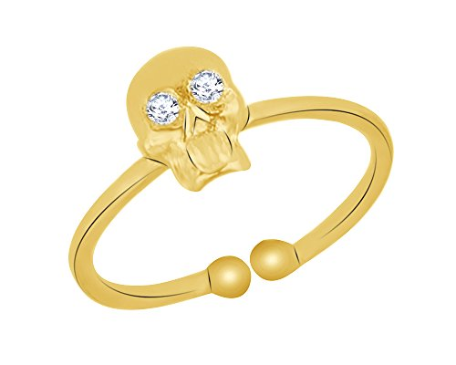 (10K Gold Natural Diamond Accent Eye-catching Skull Design Adjustable Ring)