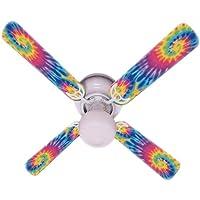 Ceiling Fan Designers Ceiling Fan, Psychedelic Tye Dye Funky Tie, 42