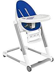 Little Bosses R Us Foldable Baby High Chair Seat with Footrest | Adjustable, Foldable & Portable Height Chair for Toddlers (Blue)
