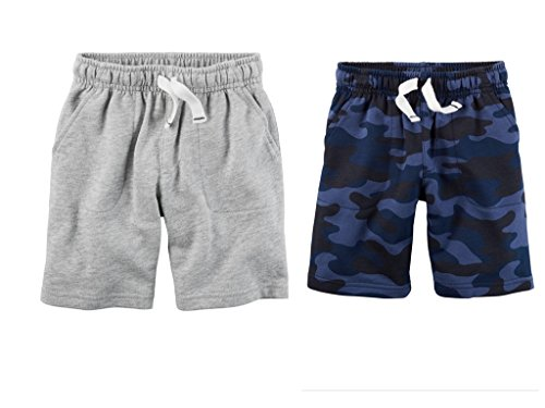 Carter's Toddler Boys 2 Pack Pull-On French Terry Soft Shorts Camo/Grey