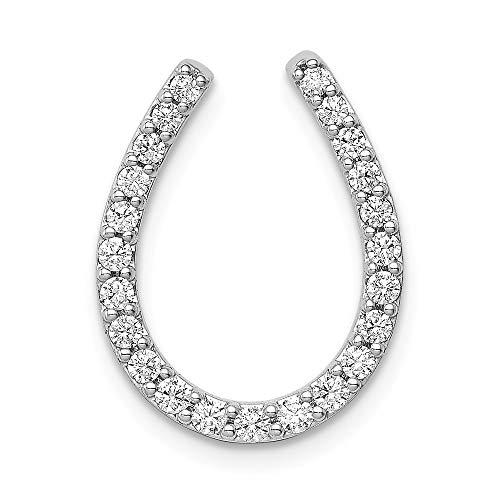 Qg White Gold Horseshoes - 14k White Gold 1/3-Carat Diamond Horseshoe Chain Slide Pendant from Roy Rose Jewelry