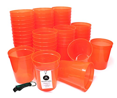Rolling Sands 16oz Reusable Plastic Stadium Cups Translucent Orange (50 Pack, Made in USA, BPA-Free) Dishwasher Safe Plastic Tumblers and Bottle Opener