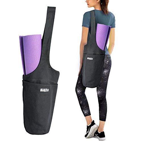 ASKITO Yoga Mat Bag by Yoga Mat Tote Sling Carrier w/Large Side Pocket & Zipper Pocket | Fits Most Size Mats (Black)