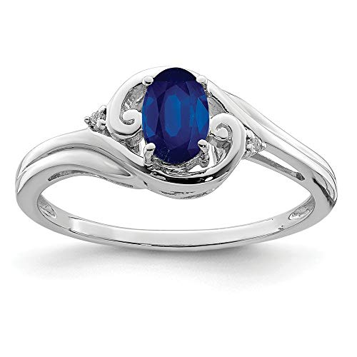 925 Sterling Silver Diamond Sapphire Band Ring Size 7.00 Gemstone Fine Jewelry Gifts For Women For Her ()