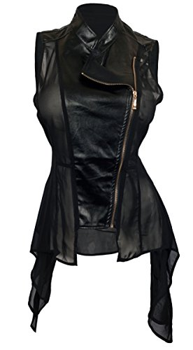 eVogues Women's Sleeveless Sheer and Faux Leather Panel Fashion Vest Jacket Black - 1X Faux Leather Panel