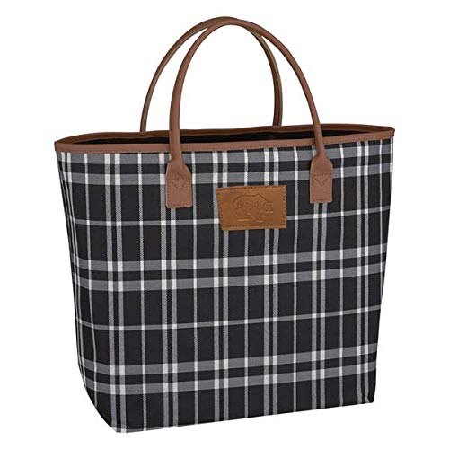 Mama Bear Large Tote Bag for Women - Soho Black and White Plaid with Leatherette Handles - Perfect Gift for Mom, Women, Wife (Mama Bear Soho Plaid) ()