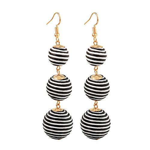 Mimgo Women Vintage Earring Triple Thread Ball Pom Pom Lantern Dangle Drop Bon Bon Earrings (Black)