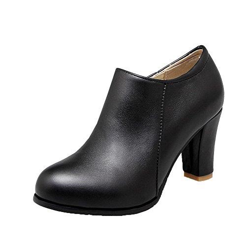 Korkokenkiä Solid Weipoot Pyöreä Vetoketju Pumput Naisten Musta kengät toe Pu qZSaAwp