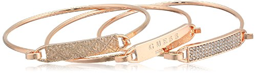 Guess 3 Piece Tension ID Rose Gold Bangle Bracelet - Guess Gold Bracelet Jewelry
