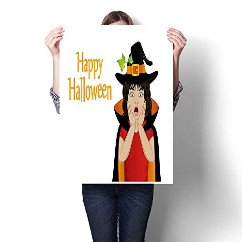 Canvas Prints Wall Art Halloween Girl in hat and witch costume is surprised wow Vector Thinking bubble with pumpkin inside Greeting card or invita Decorative Fine Art canvas Print Poster K 20