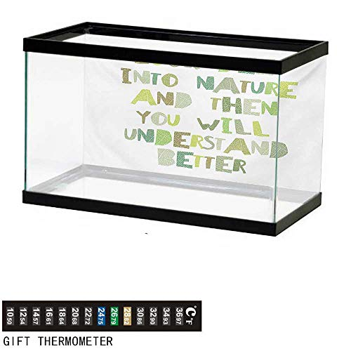 (wwwhsl Aquarium Background,Quote,Look Deep into Nature,and Then You Will Understand Everything Better Leaf Cut Letters,Green Fish Tank Backdrop 24