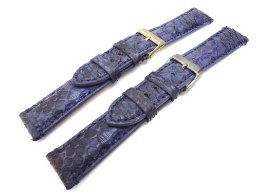 Genuine Python Skin Blue 22mm Watch Band Gold Plated Buckle