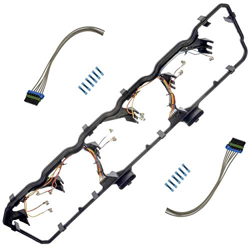 APDTY 726315 Valve Cover Gasket Kit With Fuel Injector Glow Plug Wiring Harness Fits 2006-2014 Dodge Ram 5.9L or 6.7L Cummins Diesel Engine (Replaces 5179091AA, 5179091AB, 5179091AC)