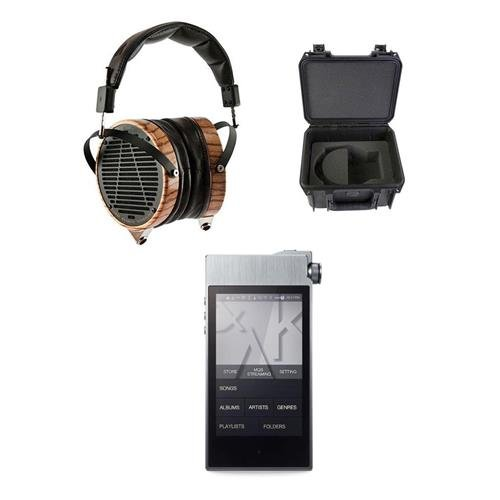 AUDEZE LCD-3 High-Performance Planar Magnetic Headphones with Travel Case, Zebrano & Lambskin Leather - Bundle With Astell&Kern AK100 II High Definition Sound System Smoky Blue by Audeze
