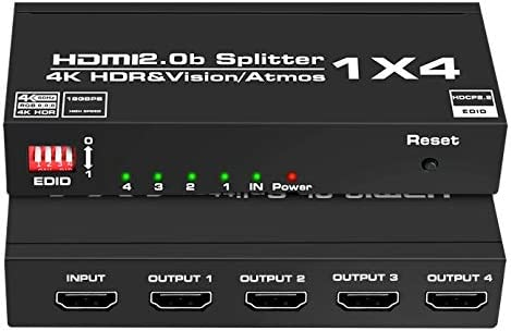4K@60Hz HDMI Splitter 1 in 4 Out, NEWCARE HDMI Splitter 1x4 Support HDMI2.0 HDCP2.2 HDR three-D Dollby Atmos with EDID Switch for Xbox, PS3/PS4, Fire Stick, Game Consoles, PC HDTV Projector and More