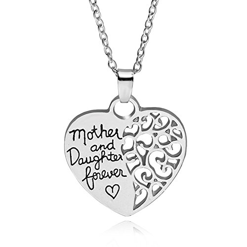 ShiQiao Spl The Love Between Mother and Daughter is Forever Hollow Heart Necklace Pendant Mom Daughter Mom Daughter Gifts Jewelry from Daughter Mom Best