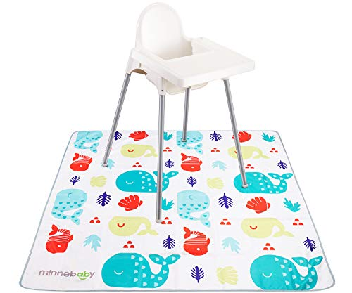 Minnebaby Extra Large 51 Baby Splat Mat for Under High Chair, High Chair Floor Mat, Machine Washable, Waterproof and Non-Slip
