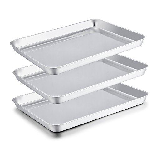 Stainless Steel Steel Cookie Sheet - TeamFar Baking Sheets, Stainless Steel Cookie Sheet Baking Pan Tray, 16x12x1 inch, Non Toxic & Rust Free, Easy Clean & Dishwasher Safe - 3 Pieces